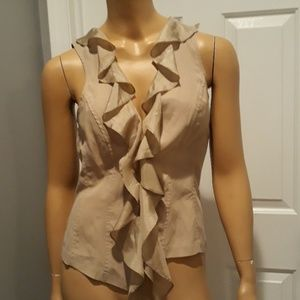 Cache tan sleeveless blouse top size medium shirt